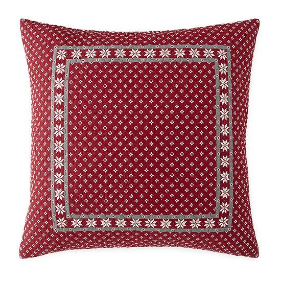 North Pole Trading Co. Winter Wonderland Striped Euro Pillow