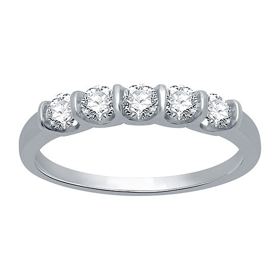Ever Star Womens 1/2 CT. T.W. Lab Grown White Diamond 10K White Gold Engagement Ring