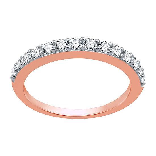 2MM 1/2 CT. T.W. Genuine White Diamond 10K Rose Gold Wedding Band
