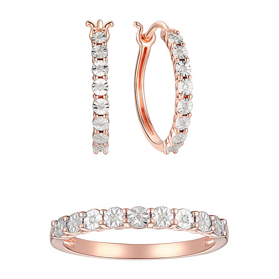 Hoop Earrings And Ring 1/10 CT. T.W. Genuine Diamond 14K Rose Gold Over Silver Sterling Silver 2-pc. Jewelry Set