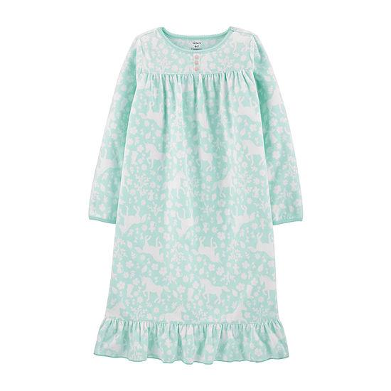 Carter's Girls Crew Neck Long Sleeve Fleece Nightgown