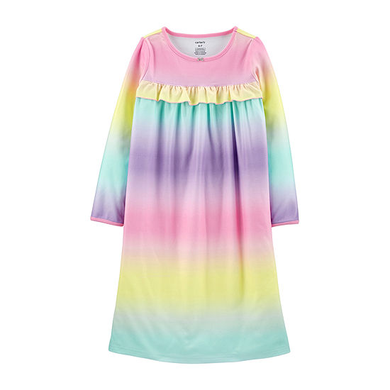 Carter's Little & Big Girls Fleece Long Sleeve Crew Neck Nightgown