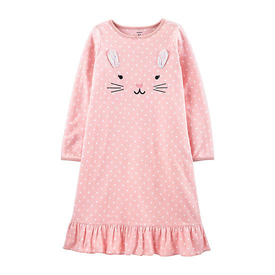 Carter's Girls Fleece Long Sleeve Crew Neck Nightgown
