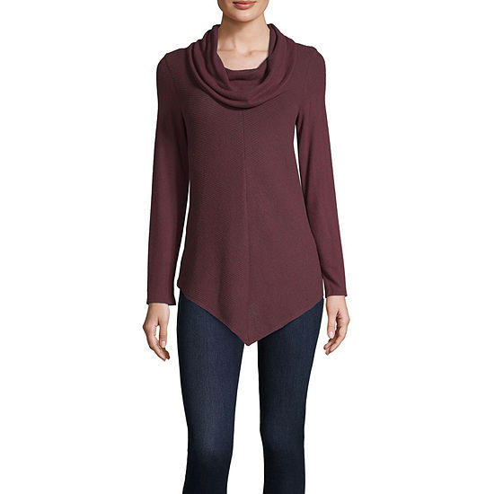 by&by-Juniors Womens Cowl Neck Long Sleeve Pullover Sweater