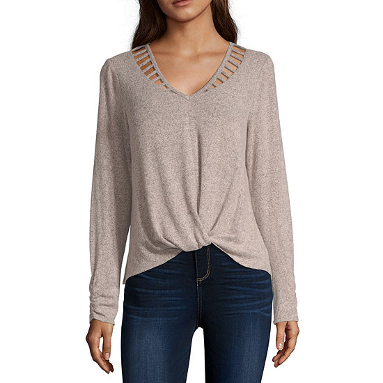 by&by-Juniors Womens V Neck Long Sleeve Pullover Sweater