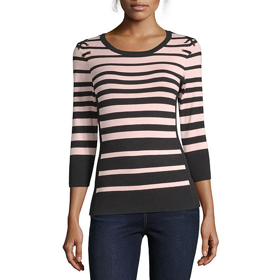 by&by-Juniors Womens Scoop Neck Long Sleeve Striped Pullover Sweater