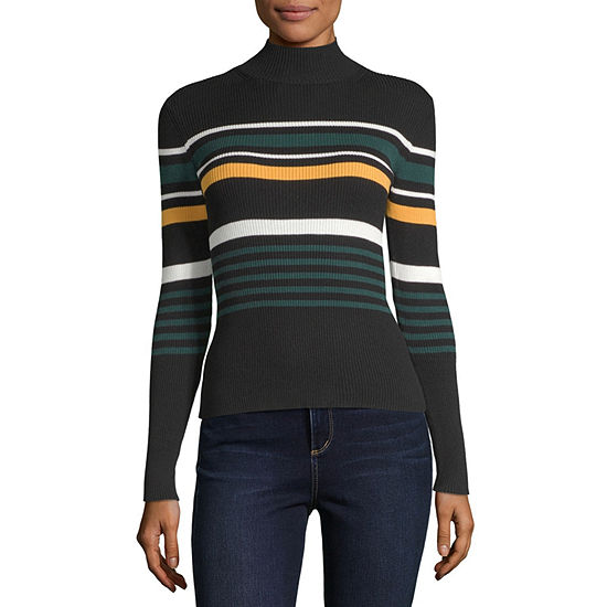 by&by-Juniors Womens Mock Neck Long Sleeve Striped Pullover Sweater