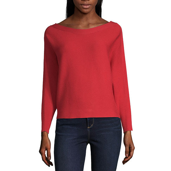 by&by-Juniors Womens Scoop Neck Long Sleeve Pullover Sweater