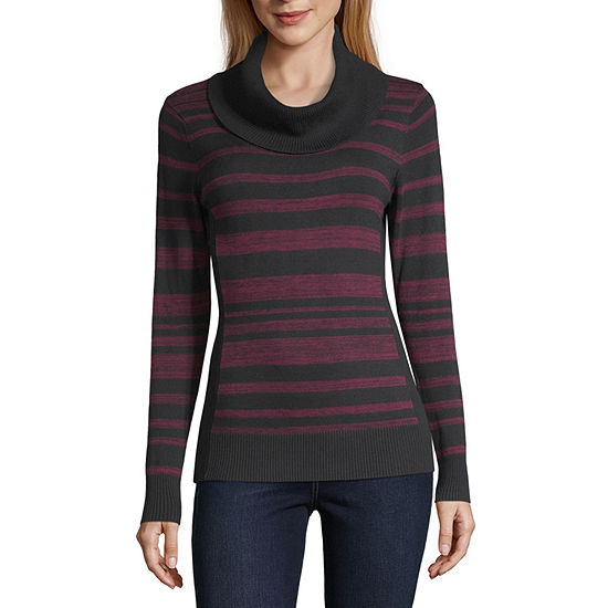 by&by-Juniors Womens Turtleneck Long Sleeve Striped Pullover Sweater