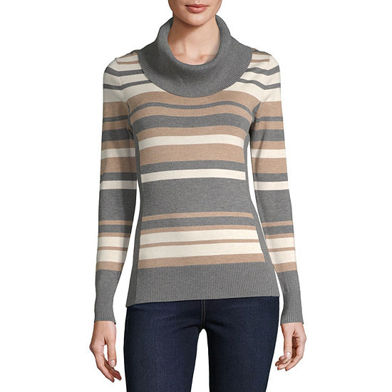 by&by-Juniors Womens Cowl Neck Long Sleeve Striped Pullover Sweater