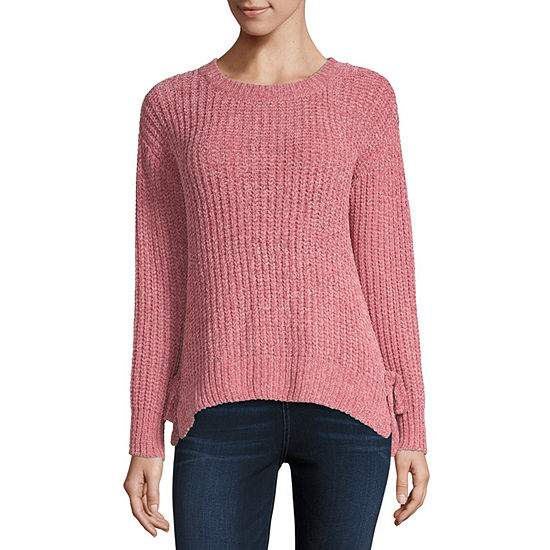 by&by-Juniors Womens Crew Neck Long Sleeve Pullover Sweater
