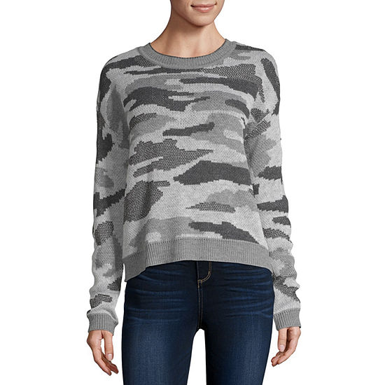 by&by Womens Crew Neck Long Sleeve Camouflage Pullover Sweater - Juniors
