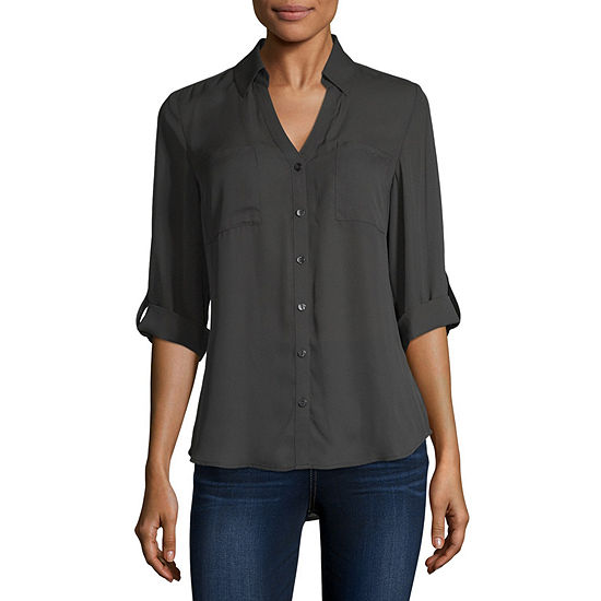 by&by-Juniors Womens 3/4 Sleeve Regular Fit Button-Front Shirt