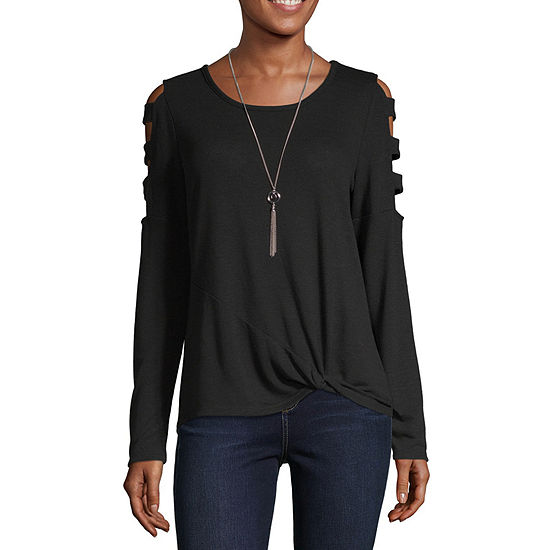 by&by Womens Scoop Neck Long Sleeve Knit Blouse -Juniors