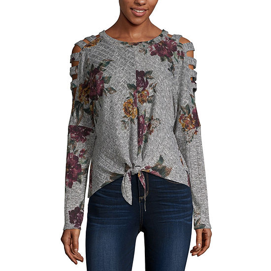 by&by-Juniors Womens Scoop Neck 3/4 Sleeve Knit Blouse