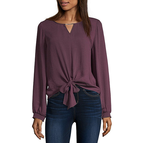 by&by Womens Keyhole Neck Long Sleeve Twill Blouse - Juniors