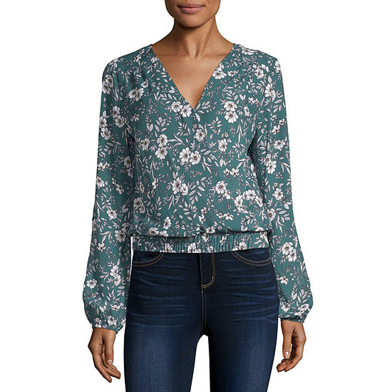 by&by-Juniors Womens V Neck Long Sleeve Dobby Blouse