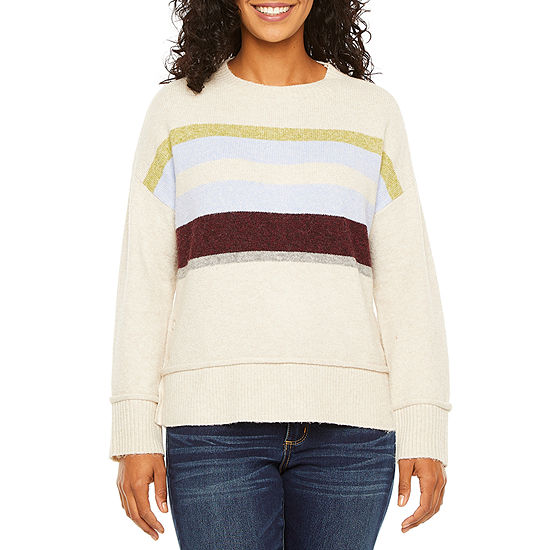 a.n.a-Petite Womens Crew Neck Long Sleeve Pullover Sweater