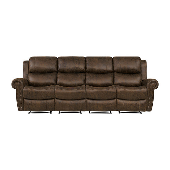 Roku Faux Leather 4 Seat Wall Hugger Recliner Sofa