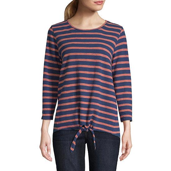 St. John's Bay-Womens Round Neck 3/4 Sleeve T-Shirt