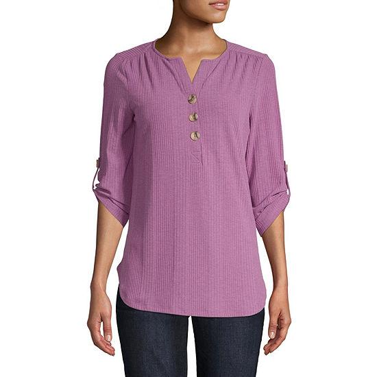 St. John's Bay Womens Y Neck 3/4 Sleeve Henley Shirt