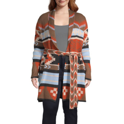 a.n.a Womens V Neck Long Sleeve Geometric Cardigan