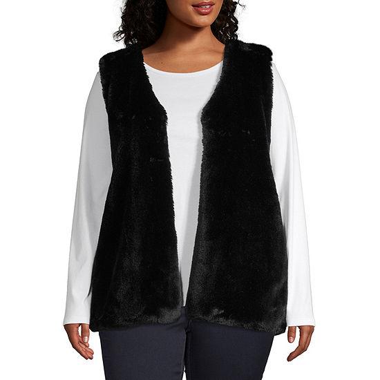 Liz Claiborne Fur Vest- Plus