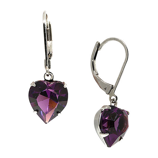 1928 1 Pair Purple Crystal Drop Earrings
