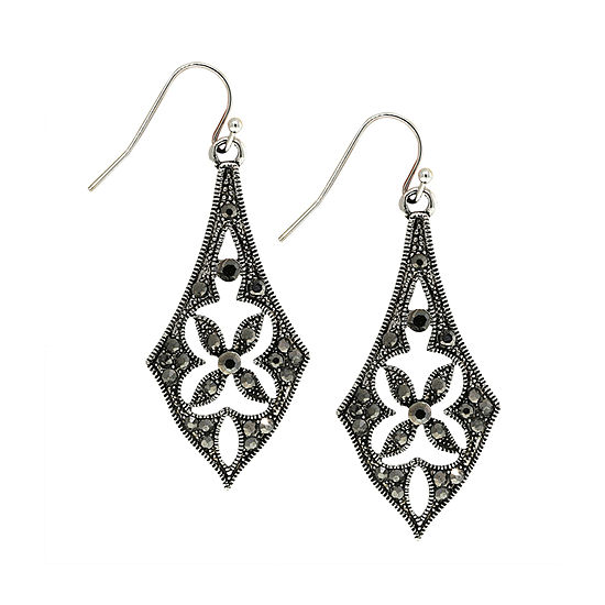 1928 1 Pair Gray Crystal Drop Earrings