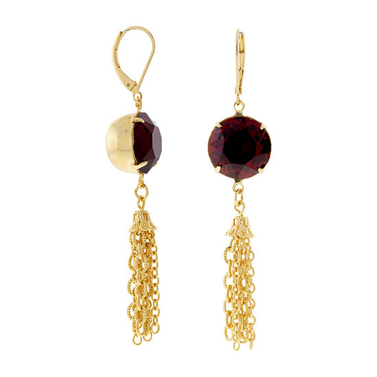 1928 Red Crystal Drop Earrings