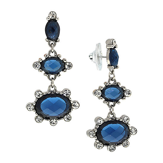 1928 Blue Crystal Drop Earrings