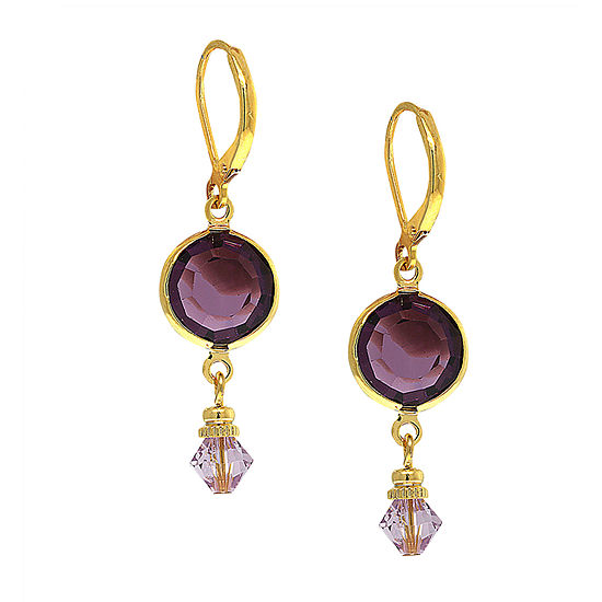 1928 Purple Crystal Drop Earrings