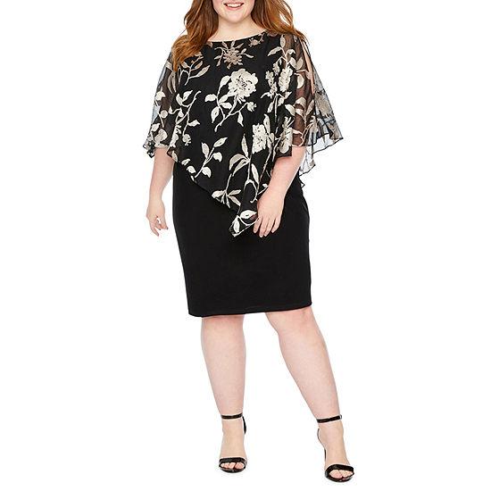 Scarlett Short Sleeve Floral Cape Sheath Dress-Plus