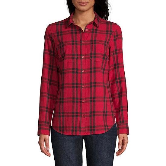 St. John's Bay-Tall Womens Long Sleeve Regular Fit Button-Front Shirt