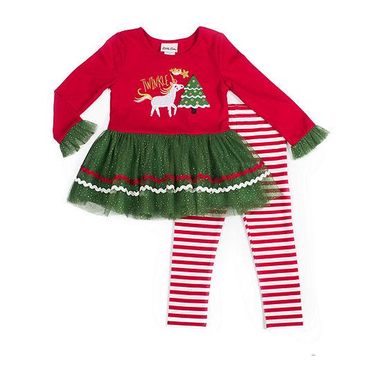 Little Lass Christmas Girls 2-pc. Legging Set-Baby