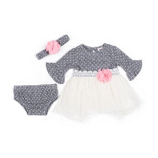 Little Lass 3-pc. Girls Long Sleeve A-Line Dress - Baby