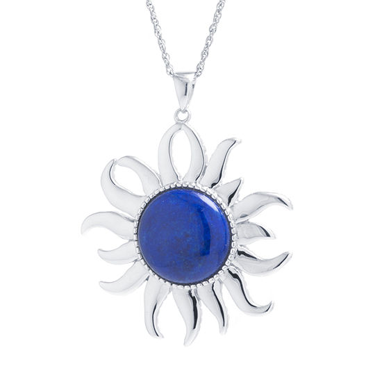 Womens Genuine Blue Lapis Sterling Silver Sunburst Pendant Necklace