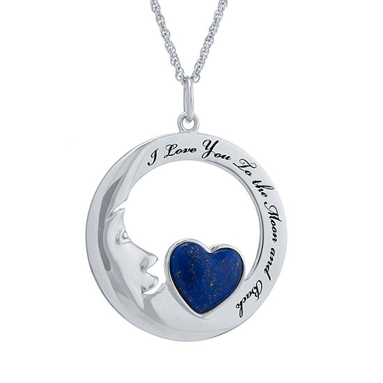 Womens Genuine Blue Lapis Sterling Silver Pendant Necklace