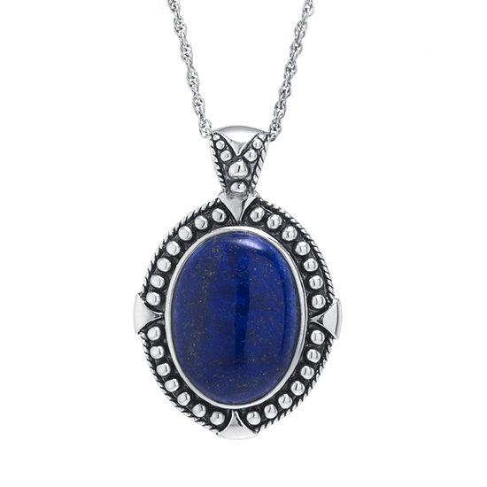 Womens Genuine Blue Lapis Sterling Silver Pendant Necklace