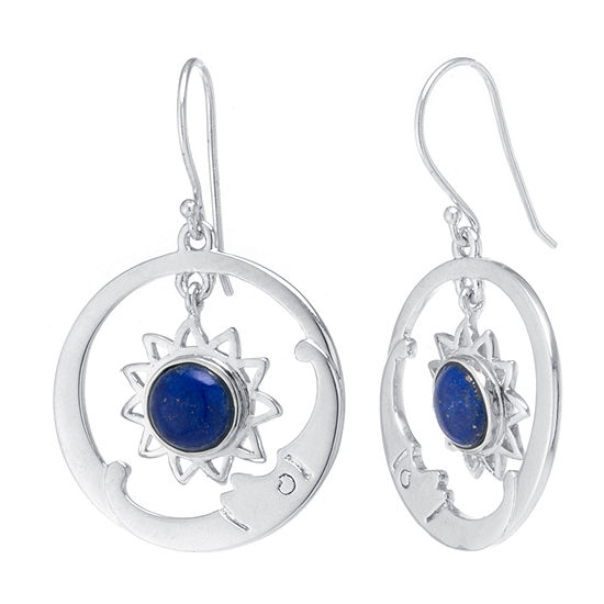 Genuine Blue Lapis Sterling Silver Drop Earrings
