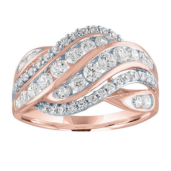 Womens 1 CT. T.W. Genuine Diamond 10K Rose Gold Cocktail Ring