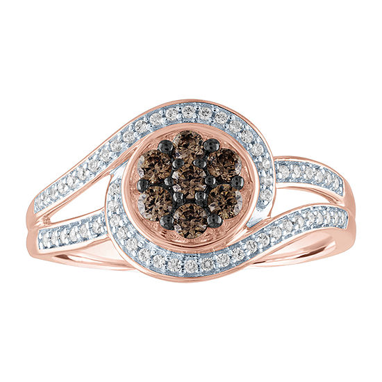 Womens 3/8 CT. T.W. Genuine Champagne Diamond 10K Rose Gold Cocktail Ring