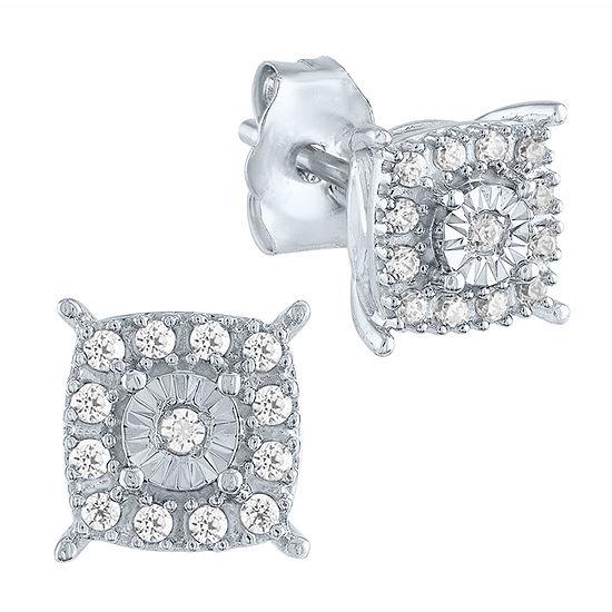 1/10 CT. T.W. Genuine Diamond 10K White Gold Stud Earrings