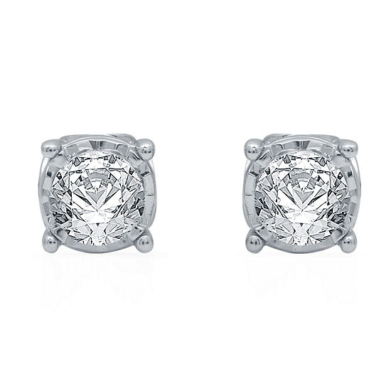 Ever Star Lab Grown White Diamond 10K White Gold Stud Earrings