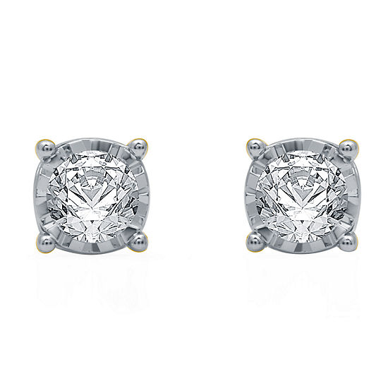 Ever Star Lab Grown White Diamond 10K White Gold Stud Earrings