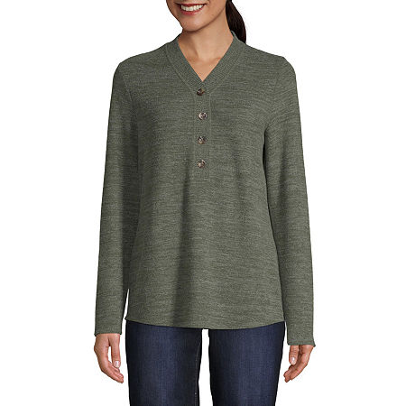 St. John's Bay Womens Y Neck Long Sleeve Henley Shirt, Small , Green