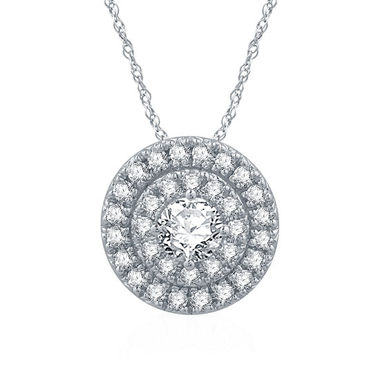 Ever Star Womens 1/2 CT. T.W. Lab Grown White Diamond Pendant