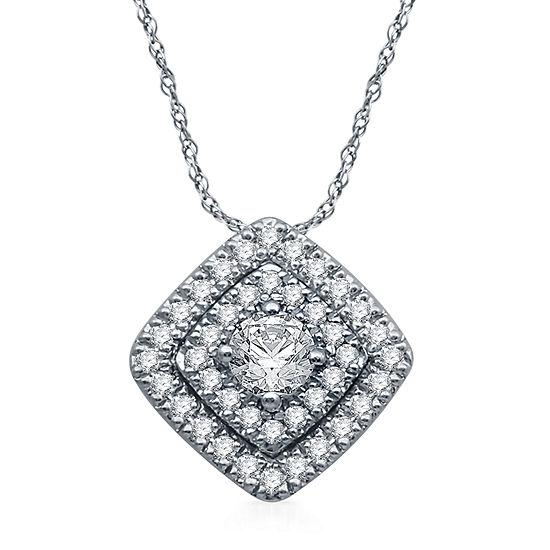 Ever Star Womens 1/2 CT. T.W. Lab Grown White Diamond Pendant
