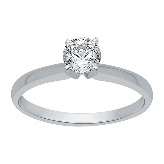 Womens 1/2 CT. T.W. Genuine White Diamond 10K White Gold Round Solitaire Engagement Ring