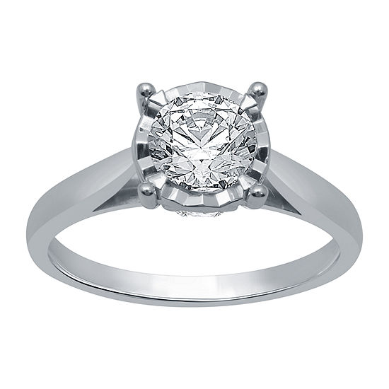 Ever Star Womens 1 1/4 CT. T.W. Lab Grown White Diamond 10K White Gold Engagement Ring